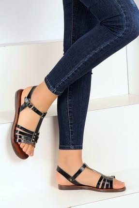 Pembe Potin Hakiki Deri Siyah Kadın Sandalet A1134-19