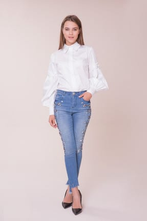 Gizia Kadın Kol İşlemeli Beyaz Gömlek M18K2X07311NA