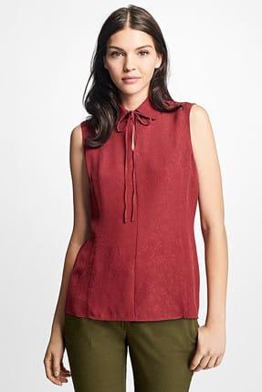 Brooks Brothers Kadın Bordo Işlemeli Fiyonk Detaylı Kolsuz Ipek Bluz