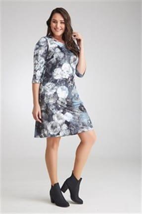 Seamoda Kadın Çiçek Baskılı Elbise Antrasit-Bb PRA-236259-805116