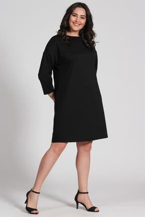 Seamoda Kadın  Düz Elbise Düşük Omuz-SİYAH   PRA-236792-674489