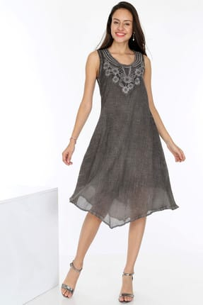 Patiska Kadın Kahverengi Önü Dantelli Etek Ucu Asimetrik Detaylı Elbise 4021