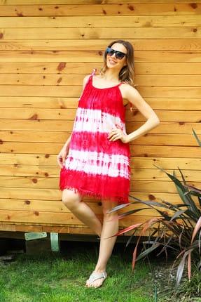 Patiska Kadın Kırmızı Enine Desenli İp Askılı Batik Elbise 4123