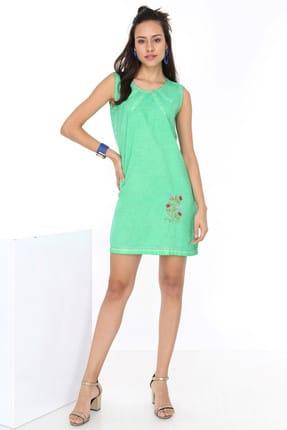 Patiska Kadın Yeşil Eteği Nakışlı Sıfır Kol Önü Biyeli Elbise 4020
