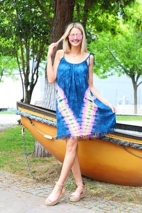 Patiska Kadın Mavi V Desenli İp Askılı Batik Elbise 4130