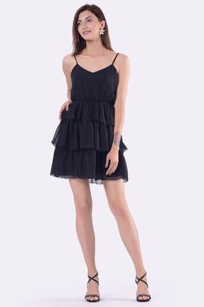 İroni Kadın Kat Kat Etekli Askılı Siyah Elbise 5274-308