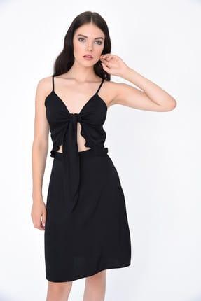 Hanna's Kadın Siyah Önden Bağlama Detaylı Göbeği Açık Elbise HN1994