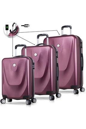 My Valice Unisex Smart Bag Energy Usb Şarj Girişli 3'lü Abs Valiz Seti Bordo