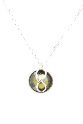 Nusret Takı Kadın 925 Ayar Gümüş Sonsuzluk Peridot Kolye WHYL1258