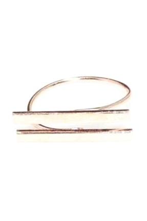 Nusret Takı Kadın 925 Ayar Gümüş Çift Çubuk Yüzük Pembe WGYZHYL219
