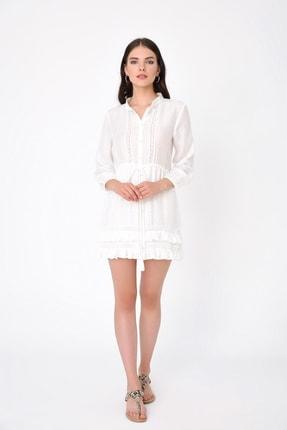 Hanna's Kadın Beyaz Uzun Kollu Kroşetalı Hakim Yakalı Gömlek HN2008