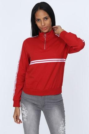 Deppoist Kadın Kırmızı Fermuarlı Şeritli Sweatshirt P00011922