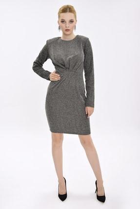 Hanna's Kadın Siyah-Beyaz Önü Drape Detaylı Uzun Kollu Dar Elbise HN2092