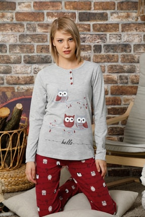 Elitol Kadın Gri Melanj Baskılı Pamuklu Likralı Pijama Takım