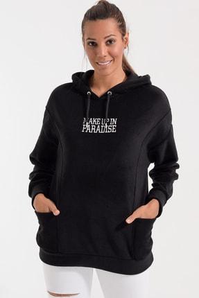 Deppoist Kadın Siyah Polar Kapşonlu Sweatshirt P00012105