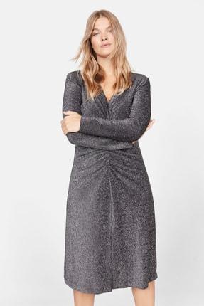 Mango Kadın Siyah Düğümlü Lureks Elbise 57039042