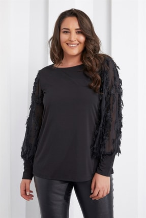 Seamoda Kadın Siyah Kolu Püsküllü Bluz PRA-654824-306630
