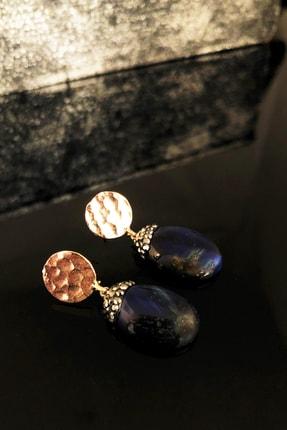 DR Stone Doğaltaş Kadın Lapis Lazuli Taşı Rose Altın Kaplama Küpe Ryl40