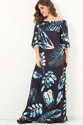 ANGELINO Kadın Siyah Genç Yakası Ayarlı Yaprak Desen Elbise T102305