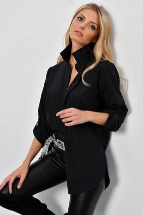 Cool & Sexy Kadın Siyah Gizli Düğmeli Uzun Gömlek SF2001