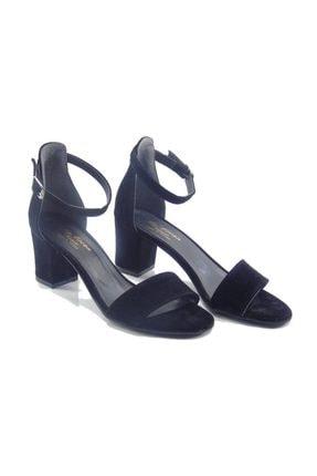 Stella By Ercan Siyah Süet Bilekten Bağlı Topuklu Kadın Sandalet