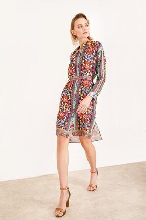 Ekol Kadın Beli Kemerli Desenli Elbise