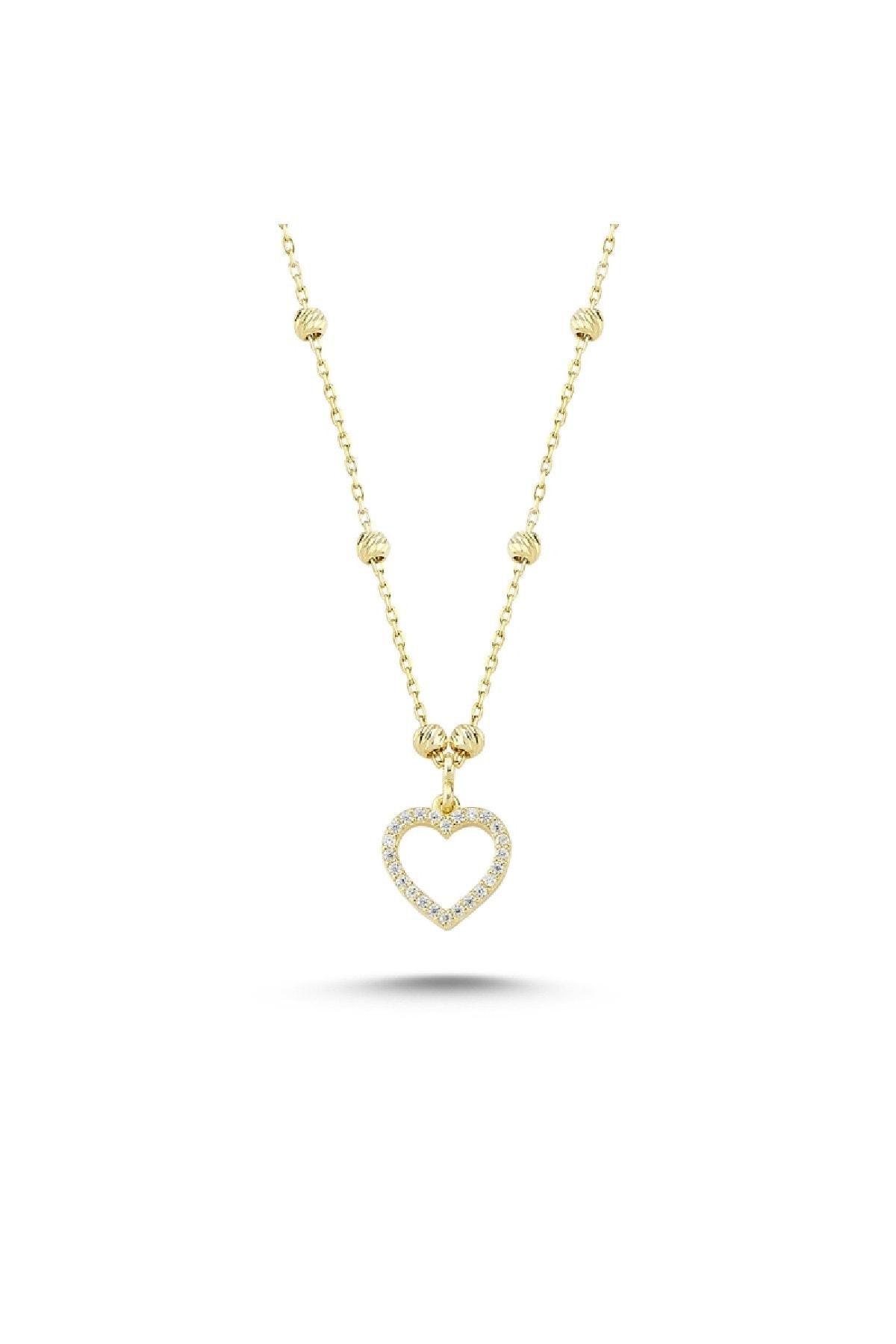 Silverella Gümüş 925 Ayar Dorica Top & Zirkon Taşlı Kalp Kolye