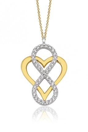 Altın Sepeti Altın Sonsuzluk İçinde Kalp Kolye