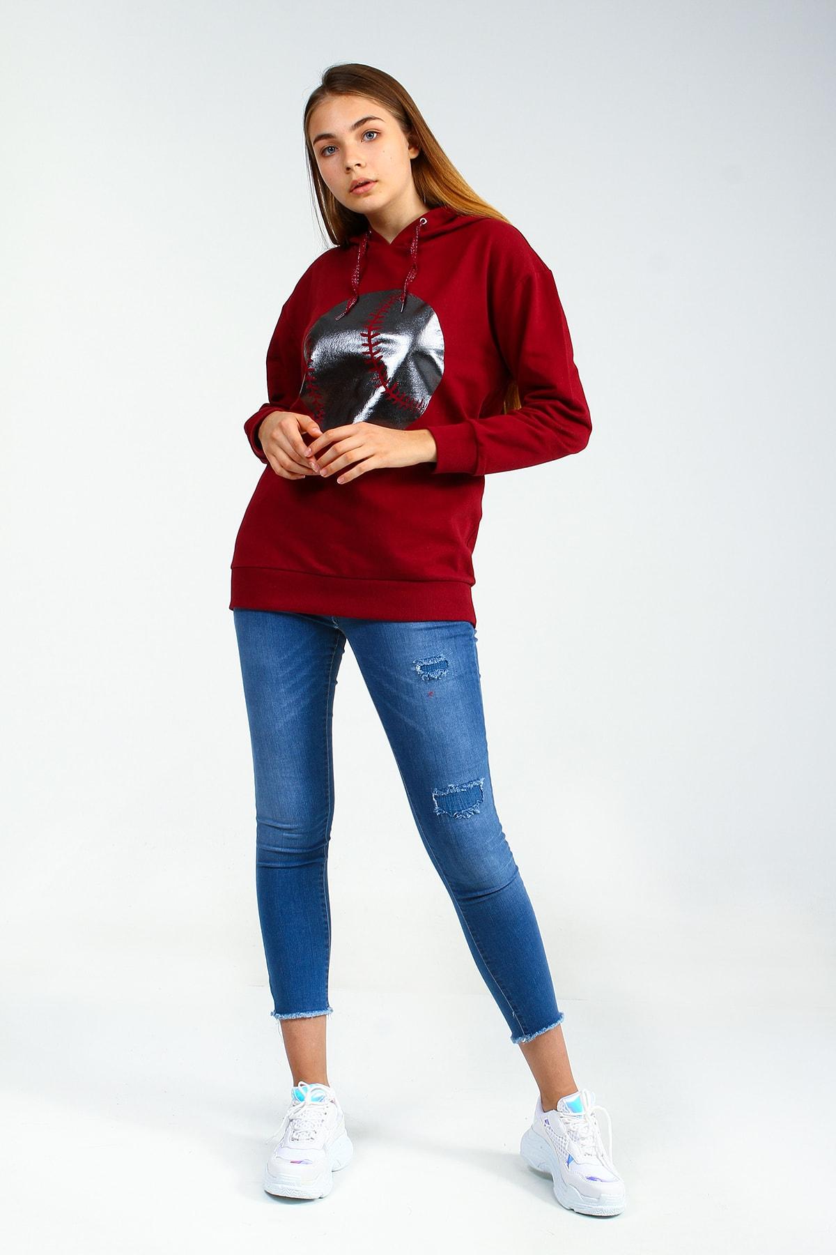 Collezione Kadın Bordo Sweatshirt Lappen UCB150575A15