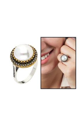 Tesbihane 925 Ayar Gümüş Beyaz Zirkon Taşlı Otantik Kadın Yüzük 102000335