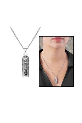 Tesbihane Zülfikar Kılıç İşlemeli 925 Ayar Gümüş Cevşen Kolye 103001006