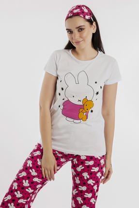 Hadise Beyaz Tavşan Baskılı Pijama Takım D6149