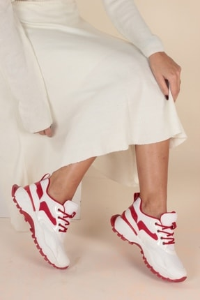 İnan Ayakkabı Beyaz Kırmızı Kadın Spor Ayakkabı Y1001