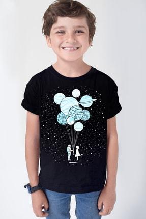Rock & Roll34 Balon Gezegenler Siyah Kısa Kollu Kız Erkek Uniseks Çocuk T-shirt