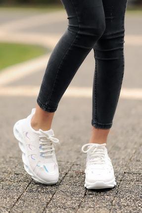 Pembe Potin Beyaz Kadın Casual Ayakkabı A4000-20