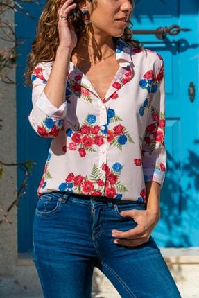 Güneşkızı Kadın Krem Çiçekli Krep Gömlek GK-BSTK4097