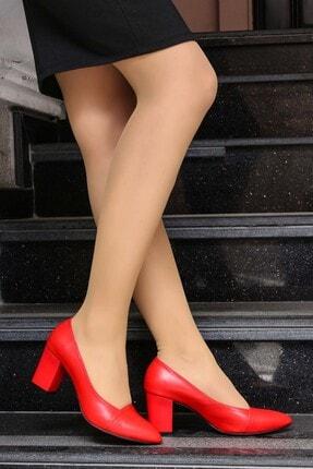 Fast Step Hakiki Deri Kırmızı Kadın Kalın Topuklu Ayakkabı 064za795