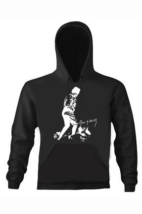 Art T-shirt Erkek Siyah Atatürk Kocatepe Kapüşonlu Unısex Sweatshirt ART018290M
