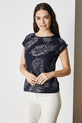 Vekem Kadın Lacivert Sim Baskılı Bluz Pamuklu Bluz 9113-0005