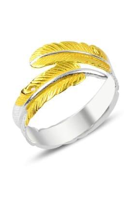 Tevuli Kadın Gümüş 925 Ayar Altın Kaplamalı Kuş Tüyü Yüzük R86940