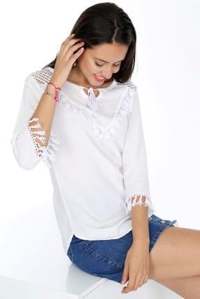 Patiska Kadın Beyaz Kolları Püsküllü Omzu Fileli Bluz 4004