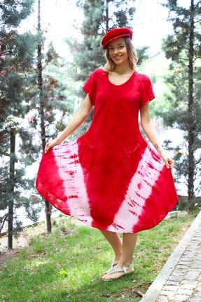 Patiska Kadın Kırmızı Yarım Kollu V Desenli Batik Elbise 4137