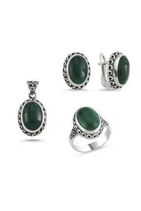 Tevuli Kadın Gümüş 925 Ayar Yeşil Akik Taşlı El İşi Set S84224