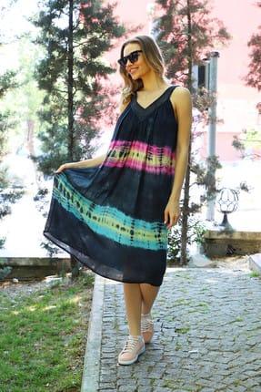 Patiska Kadın Siyah Enine Desenli Dantel Detaylı Batik Elbise 4122