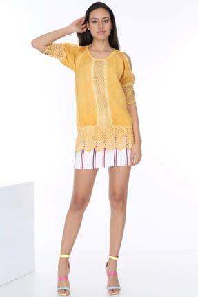 Patiska Kadın Sarı Eteği Ve Kolları Dantelli Omzu Açık Bluz 4007