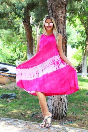 Patiska Kadın Pembe Uzun Çan Çapraz Desenli Batik Elbise 4136