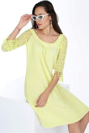 Patiska Kadın Sarı Kolları Sarkıt Dantelli Elbise 4023