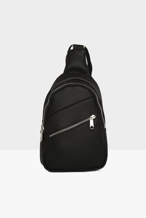 Bagmori Siyah Kadın Çift Fermuar Kolon Detaylı Çanta M000003430