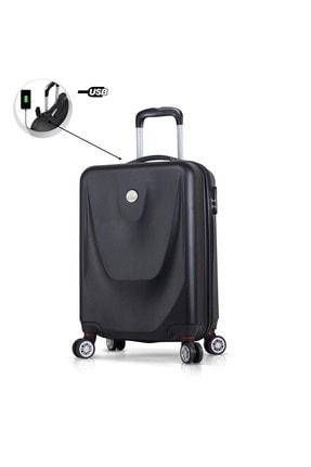 My Valice Unisex Smart Bag Energy Usb Şarj Girişli Küçük Kabin Boy Abs Valiz Siyah