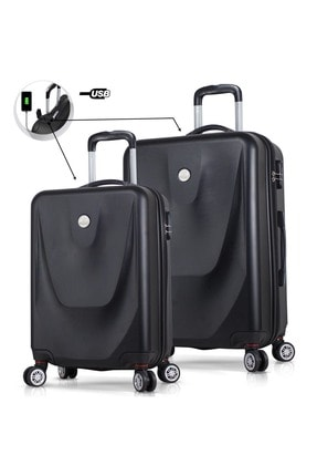 My Valice Unisex Smart Bag Energy Usb Şarj Girişli 2'li Valiz Seti (Kabin ve Orta) Siyah